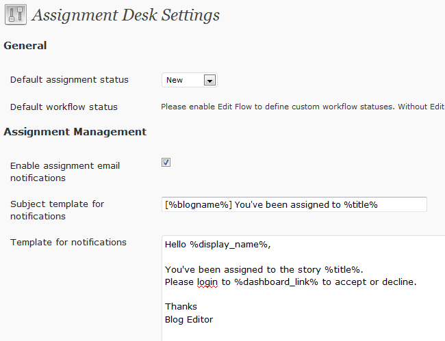 assignment desk editorial tool for wordpress news sites wp solver assignment desk has plenty of options you can optimize to take your news website to the next level the default assignment status is new