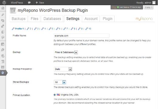 myRepono WordPress Backup Plugin - WP Solver