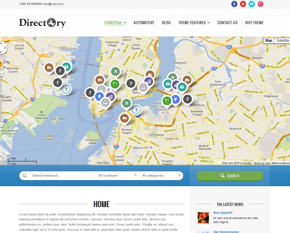 Directory Portal Theme For WordPress WP Solver - Google maps themes