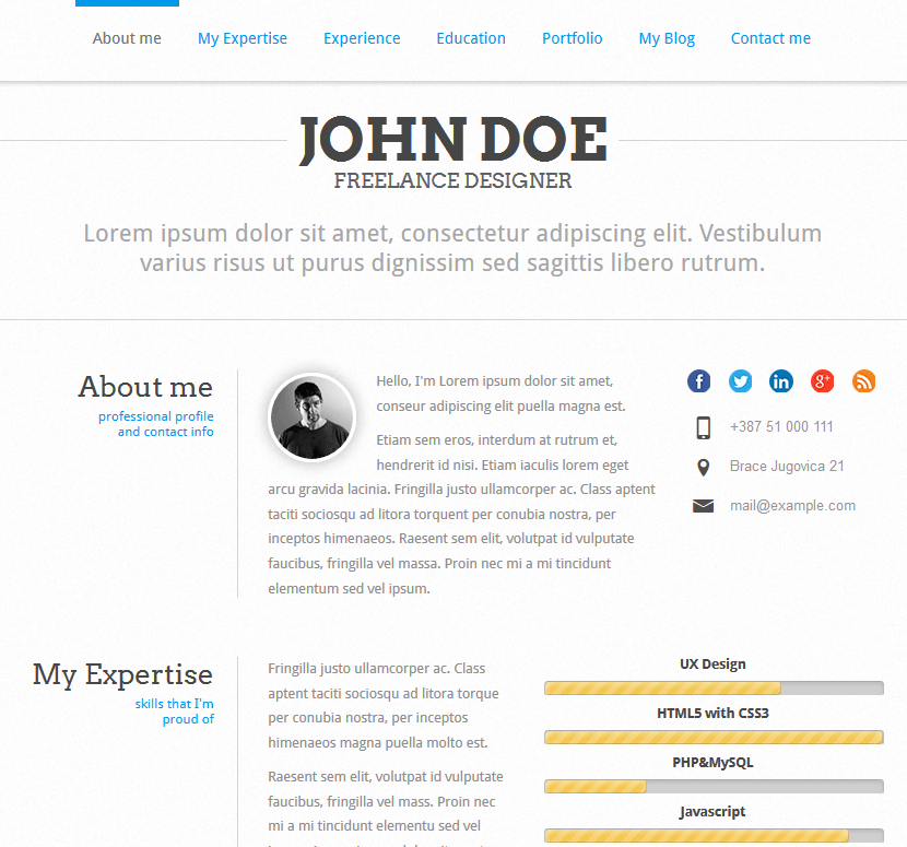 john doe. Resume Example. Resume CV Cover Letter
