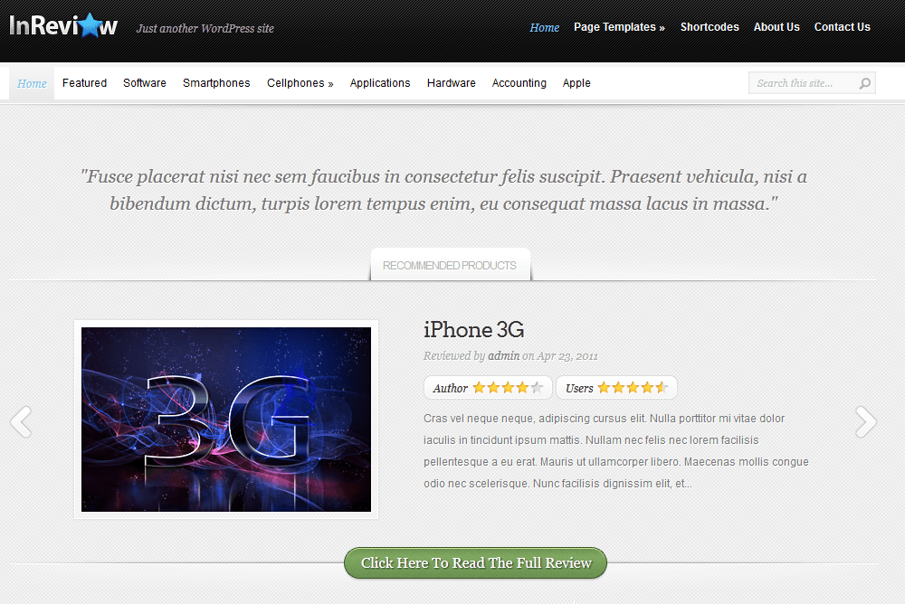 8 attractive wordpress themes for product review sites for Product review template wordpress