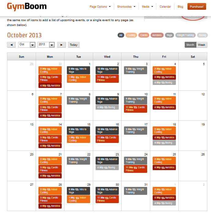 gymboom calendar