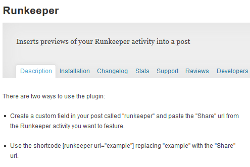 runkeeper plugin