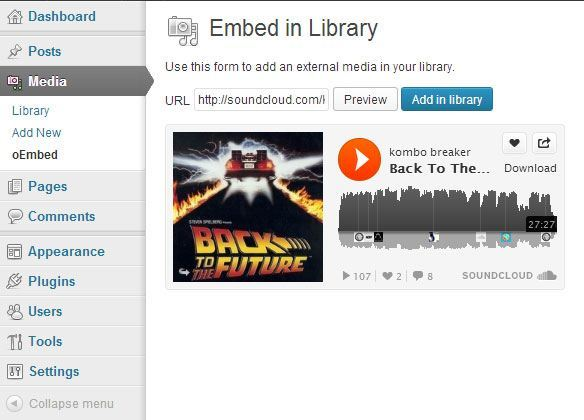 embed in library