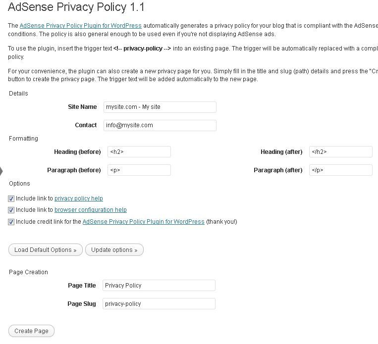 privacy policy plugin