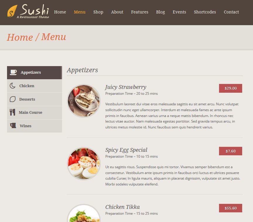 sushi theme