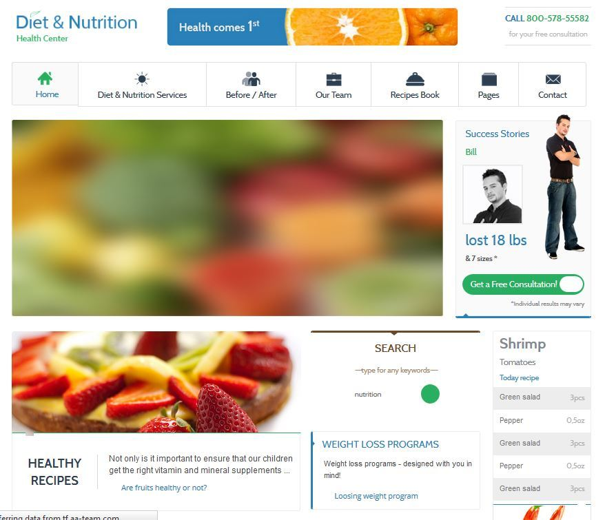 WordPress Theme for Diet & Nutrition Sites