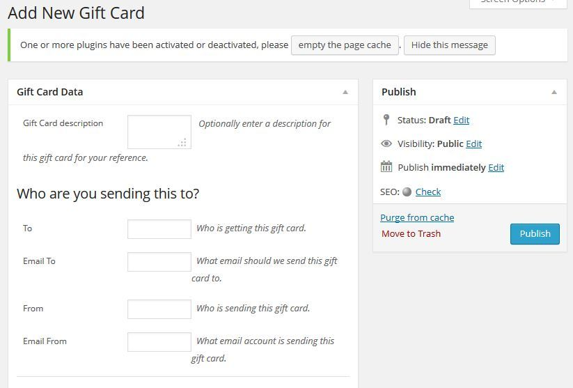 gift cards woocommerce
