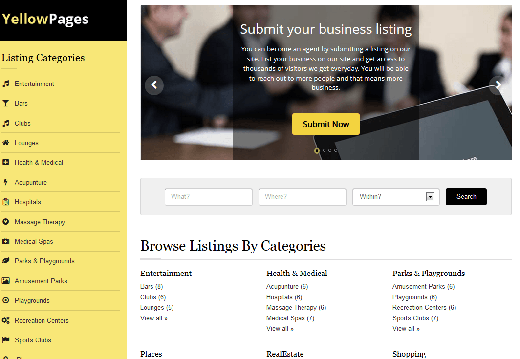 YellowPages Directory Theme for WordPress