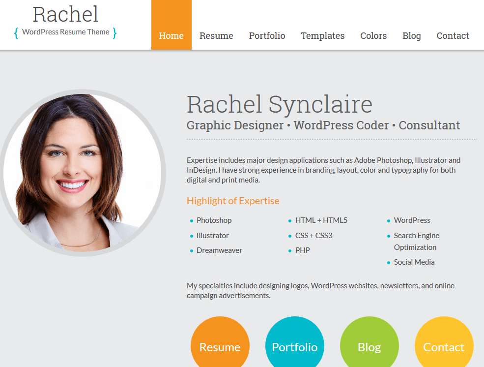 Rachel Is A Professional Theme For Personal Branding And Folks Who Just  Want To Promote Their Skills Online. It Has A Very Clean And Fast Design.  Wordpress Resume Theme