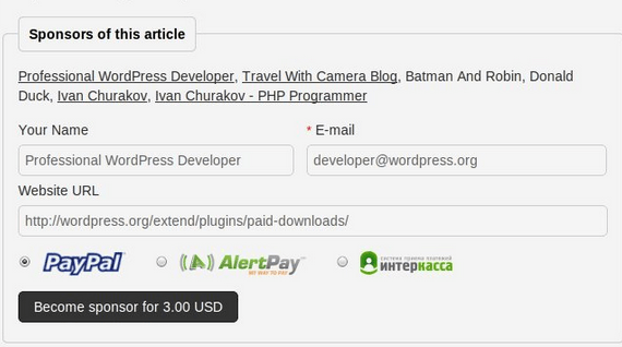 Article Sponsorship for WordPress: Allow Visitors To Sponsor Articles
