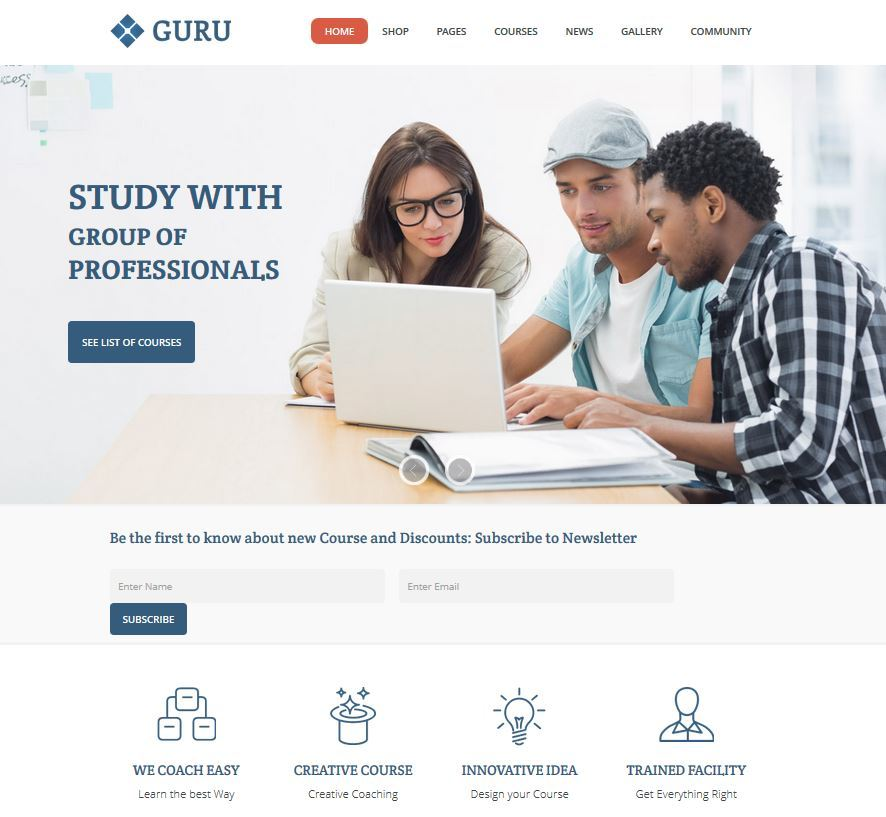 Guru: Theme for Learning Management with Sensei Support