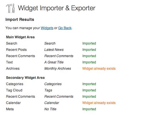 widget importer
