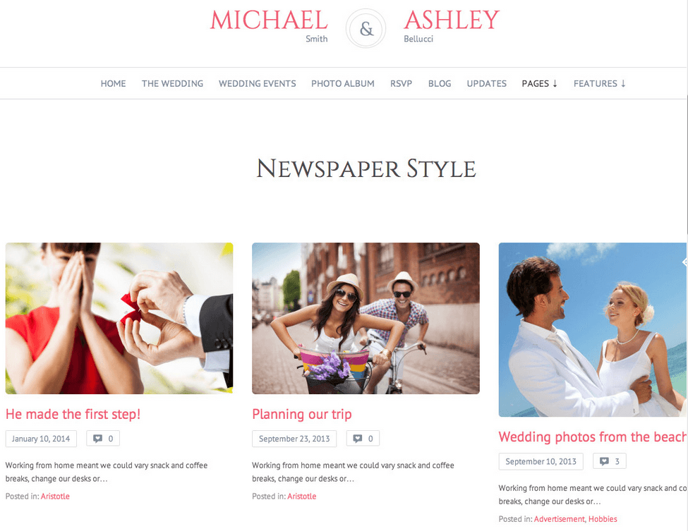 Honeymoon Responsive Wedding WordPress Theme