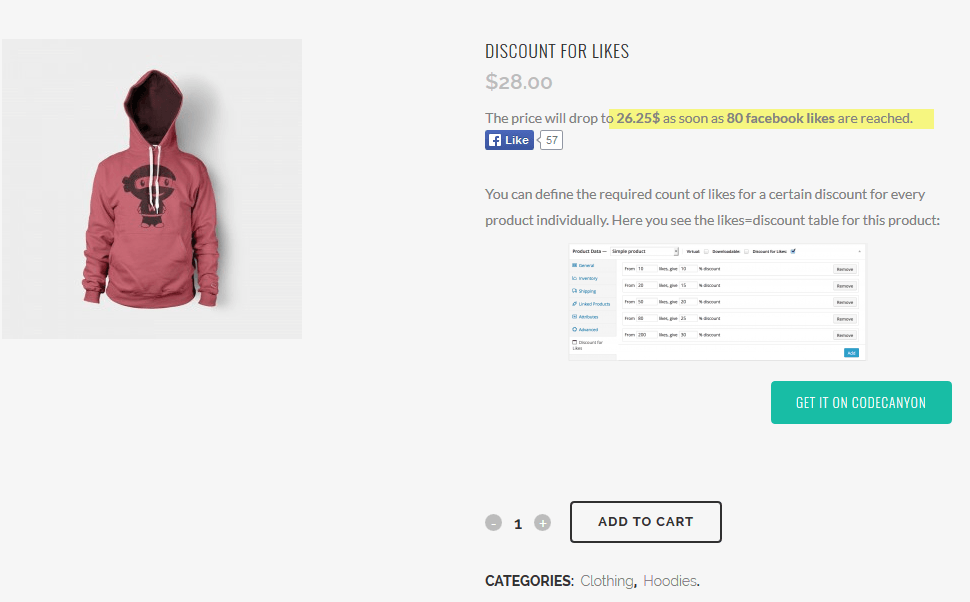 Discount for Likes WooCommerce Plugin