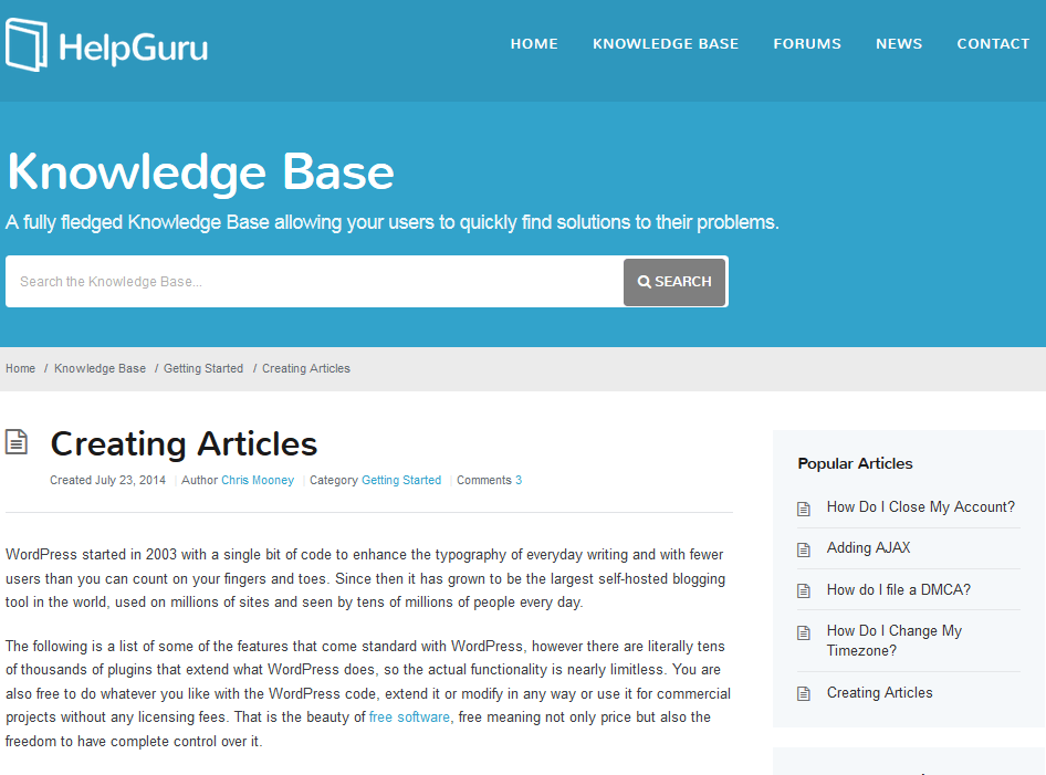 HelpGuru : Knowledge Base Theme for WordPress