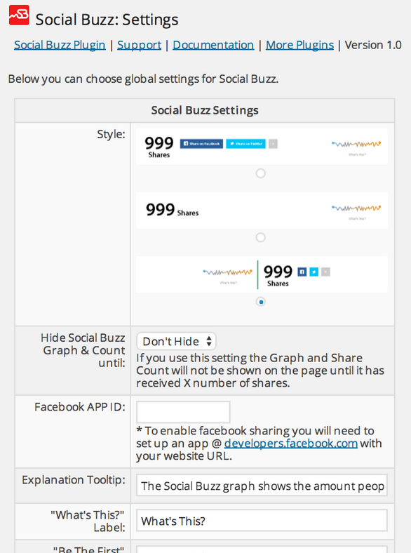 Social Buzz: Social Share Graphs for WordPress
