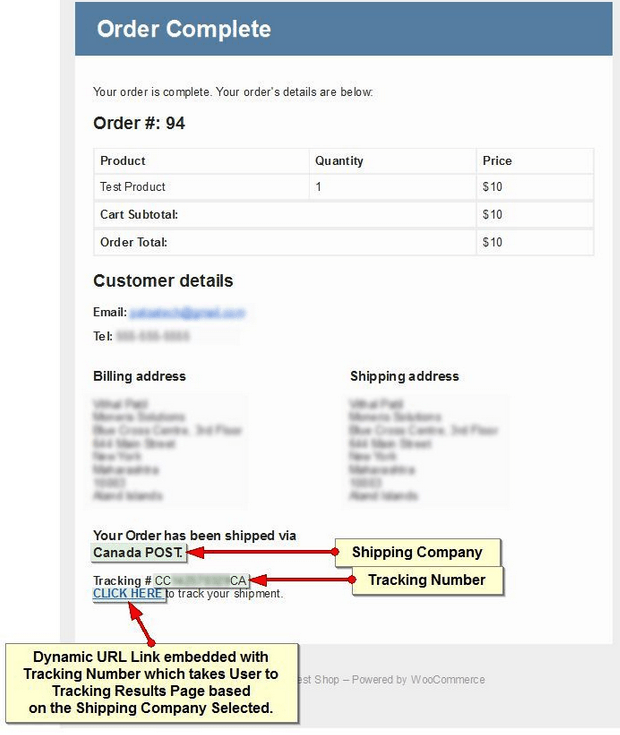 Shipping Details for WooCommerce for Tracking Orders
