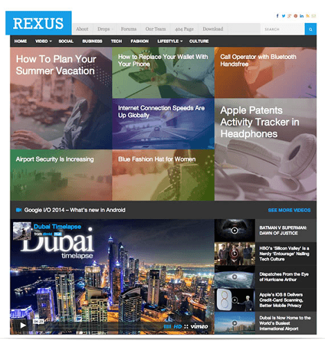 Rexus Modern Magazine Theme for WordPress