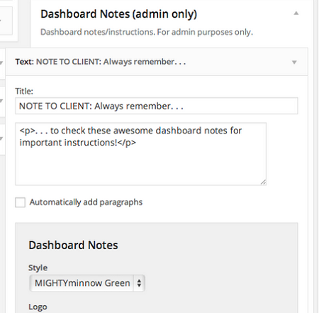 dashboard notes