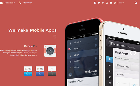 7 One-page App Landing Page WordPress Themes