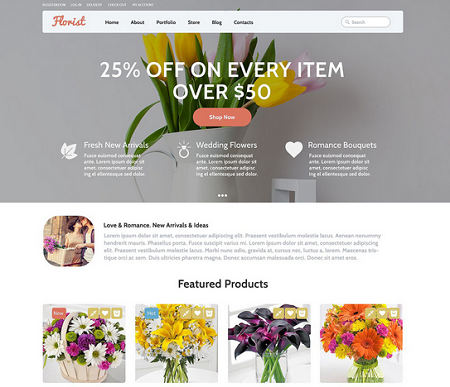 5 wordpress themes for flower shops wp solver for Homepage shop