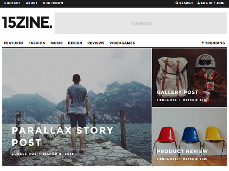 15Zine HD Magazine WordPress Theme