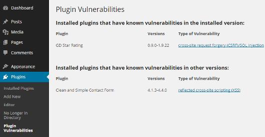 Plugin Vulnerabilities