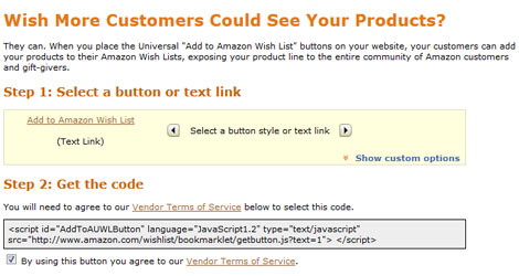 """Add to Amazon Wish List"" Button for Websites"
