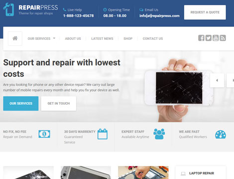 RepairPress: WordPress Theme for Gadget Repair Shops