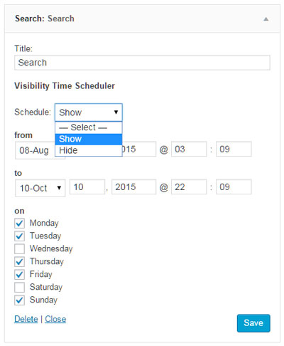 Widget-Visibility-Time-Scheduler