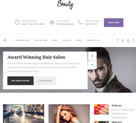 Beauty: WordPress Theme for Hair Salons, Spas