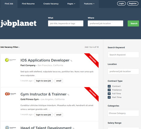 Jobplanet: Responsive Job Board Theme