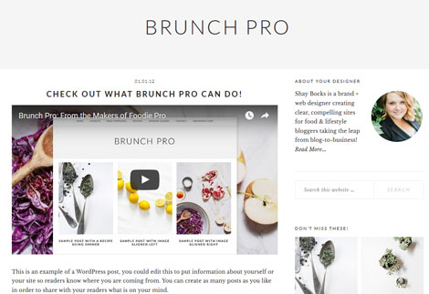 Brunch Pro Genesis Theme for Food Bloggers