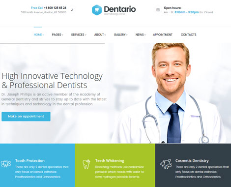 15+ WordPress Themes for Dentists