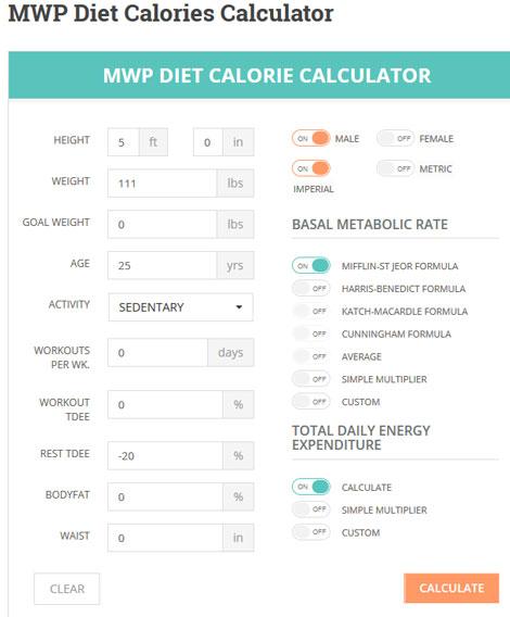 MWP Diet Calories Calculator for WordPress