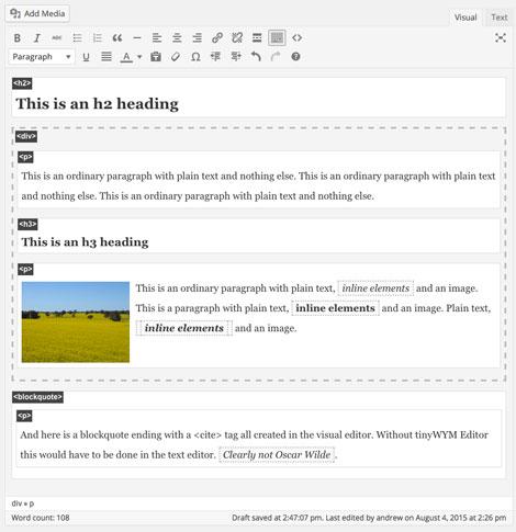 tinyWYM Editor: WYSIWYM Editor for WordPress
