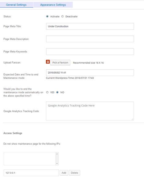 Under Construction / Maintenance Mode Plugin for WordPress