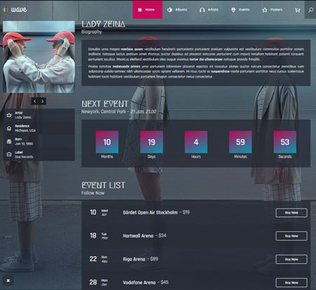 Wave Responsive Theme for Music Sites