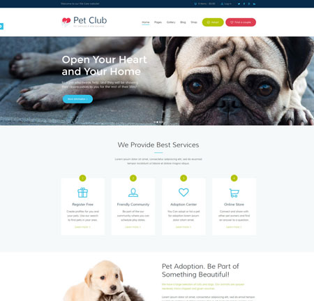 Pet Club WordPress Theme for Pet Adoption, Training Services