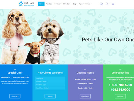 Pet Care: WordPress Theme for Vets, Pet Shops