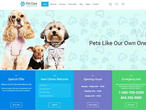 Pet Care: WordPress Theme for Vets, Pet Shops
