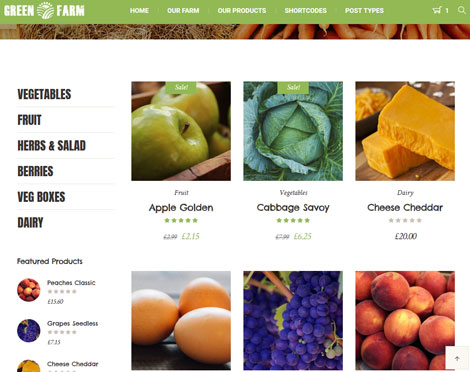 Green Farm: WordPress Theme for Organic Food Stores and Markets