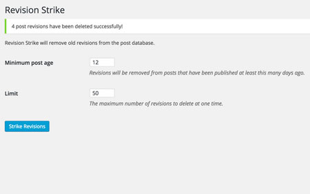 Revision Strike for WordPress: Remove Old Revisions