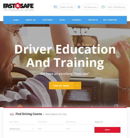 5 WordPress Themes for Driving & Traffic Schools