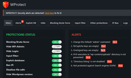 WProtect Security Plugin for WordPress