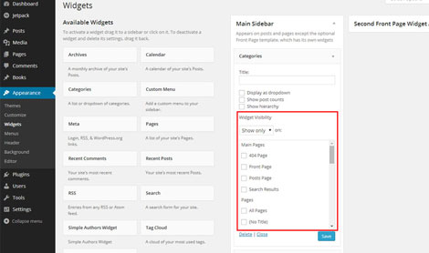 Widget Visibility Plugin for WordPress