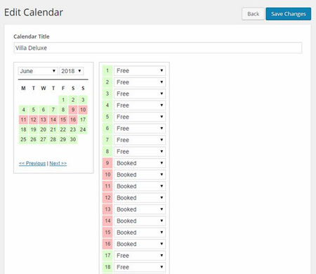 WP Simple Booking Calendar Plugin