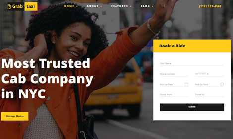 Grab Taxi: Responsive Online Taxi Theme for WordPress