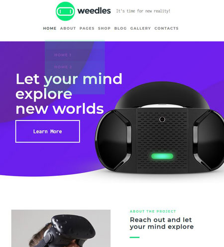 Weedles for WordPress: VR Landing Page & Store